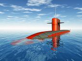 pic of u-boat  - Computer generated 3D illustration with an American Nuclear Submarine of the cold war - JPG
