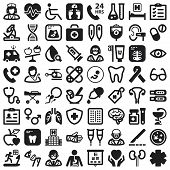 image of stethoscope  - Set of black flat icons about health - JPG