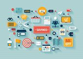 picture of labelling  - Flat design vector illustration concept with icons of retail commerce and marketing elements such as promotion coupon discount and various shopping and money economy sign and symbol - JPG