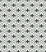 White And Dark Green Fleur-de-lis Pattern Textured Fabric Background