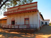 stock photo of pio  - Old Mexican Adobe called the Pio Pico Mansion which was the California Governors Mansion during Mexican rule taken in Whittier - JPG