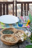 stock photo of nic  - Table pic-nic setting in summer holiday house
