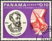 PANAMA - CIRCA 1966: A stamp printed in Panama shows Jules Verne (1828-1905), French Space Explorati