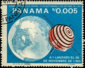 PANAMA - CIRCA 1966: A stamp printed in Panama shows Earth, A-1 satellite, circa 1966