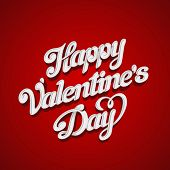 stock photo of valentines  - Happy Valentines Day Vector design lettering greeting card template - JPG