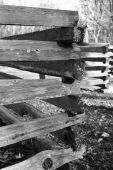 stock photo of split rail fence  - Old split rail fence repeating in black and white - JPG