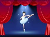 Illustration of a ballerina at the stage with a red curtain