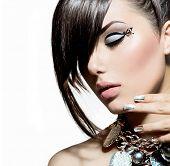 stock photo of silver-hair  - Fashion Model Girl Portrait - JPG