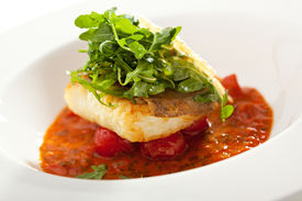 foto of halibut  - Halibut Fillet with Tomato Sauce and Rucola - JPG