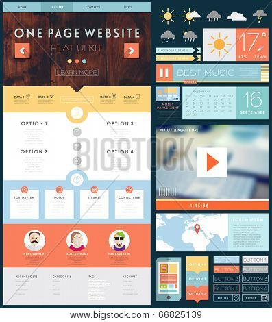 One page website design template with ui elements kit flat design one page website design template with ui elements kit flat design concept icons and blurred smooth backgrounds mobile phones and tablet pc designs maxwellsz