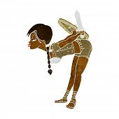 stock photo of valkyrie  - cartoon viking girl bowing - JPG