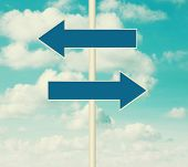 pic of opposites  - Two blank road signs pointing in opposite directions - JPG