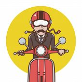 image of vespa  - the Man with red helmet riding a red scooter - JPG