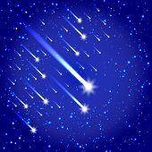 image of comet  - Vector illustration of Space background with stars and comets - JPG