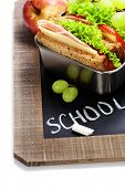 image of lunch box  - school lunch and  blank chalk board over white - JPG