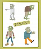 picture of supernatural  - Cute vector set of four zombies - JPG
