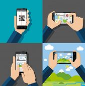 pic of qr-code  - Hands holding touchscreen smartphones with applications on screens - JPG