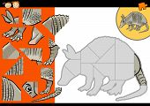 pic of armadillo  - Cartoon Illustration of Education Jigsaw Puzzle Game for Preschool Children with Funny Armadillo Animal Character - JPG