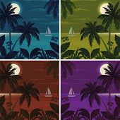 picture of moon-flower  - Set colorful exotic tropical landscapes with moon night sky - JPG