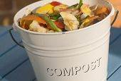 foto of discard  - Detail outdoor shot of a kitchen compost bucket - JPG