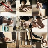stock photo of carpenter  - Collage of Carpenter at work hands close up - JPG