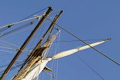 picture of sail ship  - A detail of a mast system on a large ship - JPG