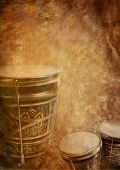 image of bongo  - Musical vintage red and yellow background with bongo - JPG