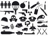 picture of military personnel  - military icons vector illustrations on white background - JPG