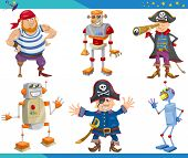 picture of peg-leg  - Cartoon Illustrations Set of Fairytale or Fantasy Characters - JPG