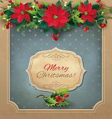 image of poinsettia  - Christmas vintage card with floral garland - JPG