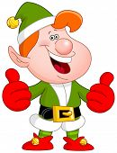 stock photo of cheer up  - Cheerful Christmas elf showing thumbs up - JPG