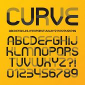 image of curves  - Abstract Futuristic Curve Alphabet And Numbers - JPG