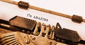 picture of amaze  - Vintage typewriter old rusty warm yellow filter I - JPG
