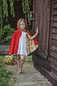 pic of little red riding hood  - Cute blonde girl playing little red riding hood in the garden - JPG