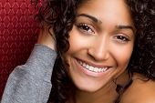 picture of african american woman  - Beautiful smiling young african american woman laughing - JPG
