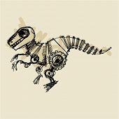 stock photo of dinosaur skeleton  - doodle dinosaur robot steampunk - JPG
