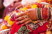 stock photo of bangles  - Hand detail of indian bride with decorative bangle and gold ring - JPG
