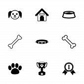 image of bag-of-dog-food  - Vector black dog icon set on white background - JPG