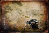 picture of drum-kit  - Vintage texture art music background drum kit - JPG