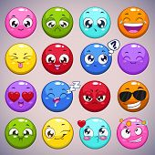 stock photo of cartoon character  - Set of colorful cartoon round characters with different emotions - JPG