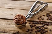 picture of chocolate spoon  - Chocolate coffee ice cream ball scoop spoon - JPG
