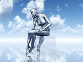 stock photo of thinkers pose  - Computer generated 3D illustration with a Female Thinker - JPG