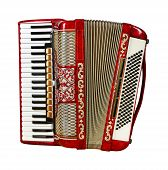 stock photo of outdated  - musical instrument red accordion front view outdated device - JPG