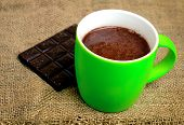 picture of hot-chocolate  - Cup of hot chocolate on sacking table - JPG