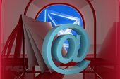 stock photo of postbox  - Red email postbox against digitally generated envelope - JPG