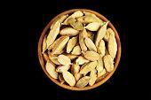 picture of cardamom  - Cardamom in wooden bowl - JPG