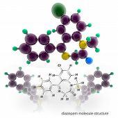 pic of valium  - Diazepam molecule structure - JPG