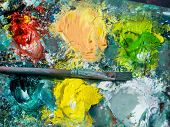 stock photo of paint palette  - the color palette and the brush of a painter - JPG