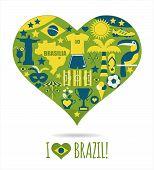 image of carnival brazil  - Brazil background of icons herrt - JPG