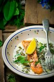 stock photo of sorrel  - salmon with sauce from a sorrel - JPG